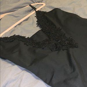 Black floral trim body suit